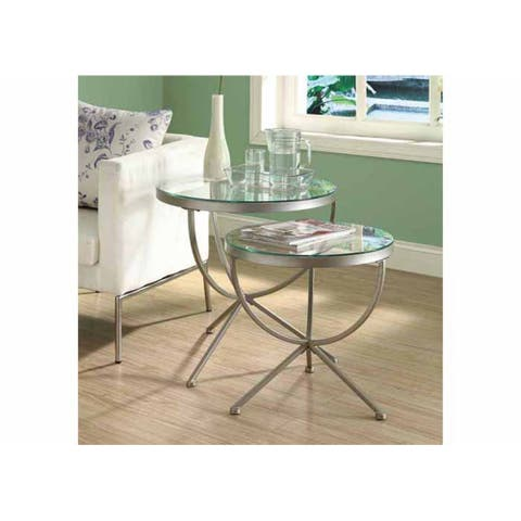 Offex OFX-284489-MO - Satin Silver 2 Piece Nesting Table Set with Tempered Glass