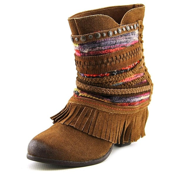 Naughty Monkey Poncho Women Round Toe Suede Brown Ankle Boot