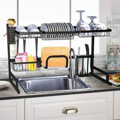 Sink Dish Drying Rack Kitchen Supplies Storage Shelf Drainer Organizer