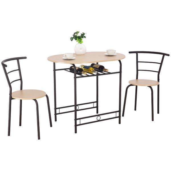 Shop Costway 3 PCS Dining Set Table and 2 Chairs Home ...