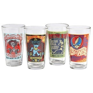 ICUP Grateful Dead Concert Poster Pint Glasses -Set of 4: Skeleton Dancing Bear Skull - 7 in. x 7 in. x 7 in.