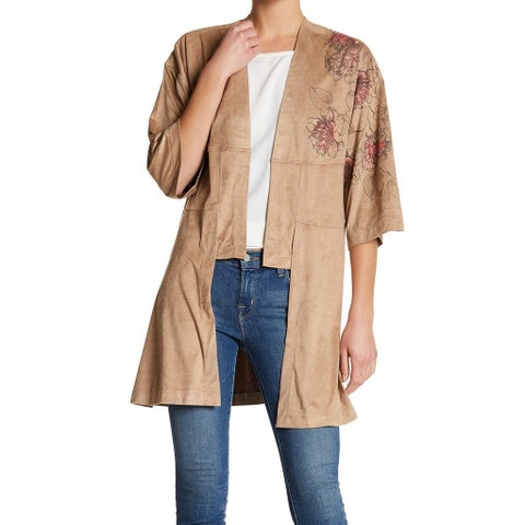 Melrose And Market Women Medium Cardigan Faux-Suede Sweater