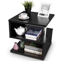 Gymax 3 Tier Coffee Table End Side Table W/Storage Shelf Organizer Cabinet Rack Black