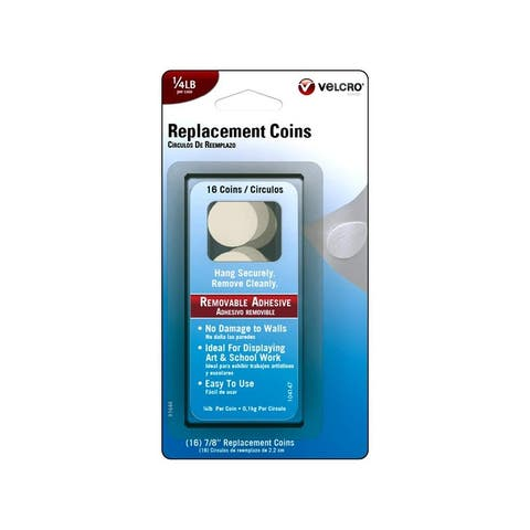 91644 velcro removable replacement coin 25lb 16pc wht