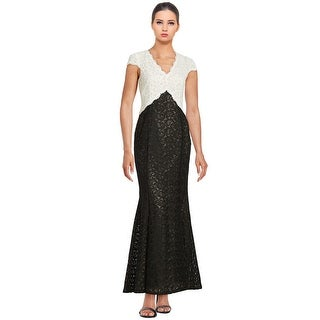 Calvin Klein Colorblocked Lace Cap Sleeve Evening Gown Dress - 4