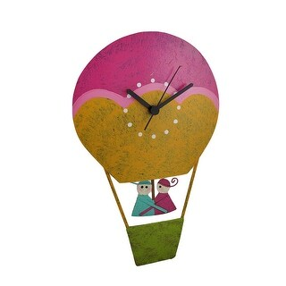 Hand Painted Recycled Metal Hot Air Balloon Pendulum Wall Clock