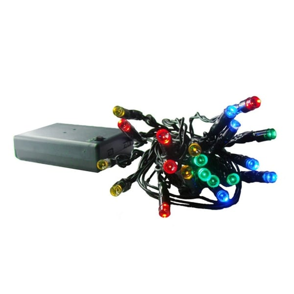 10 Battery Operated Multi-Color LED Wide Angle Christmas Lights - Green Wire