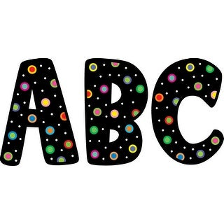 Creative Teaching Press 7 H in Designer Letters, Dots on Black, Set of 120