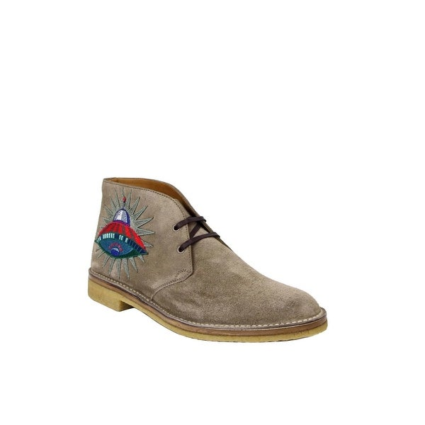 d415837d7 Shop Gucci Beige Suede With Owl and UFO Embroided Ankle Boots 473023 ...