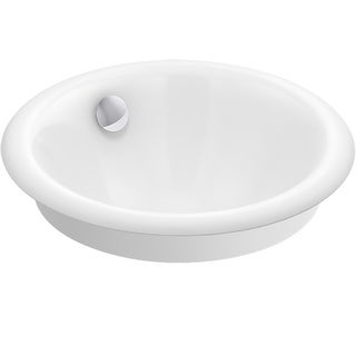 "Kohler K-20211-W  Iron Plains 12"" Cast Iron Drop-In, Undermount or Vessel Bathroom Sink with Overflow"
