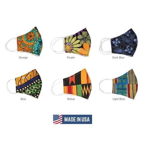 Urban Ethnic African Print Cloth Face Mask Reusable Nose Clip Filter Pocket