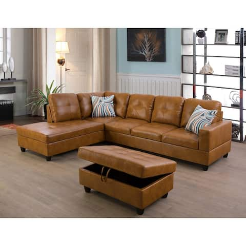 Left Facing Ginger 3-piece Sectional Sofa Set LSF09517A