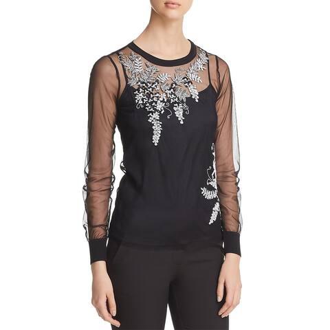 Elie Tahari Womens Adela Blouse Sheer Embellished - Black