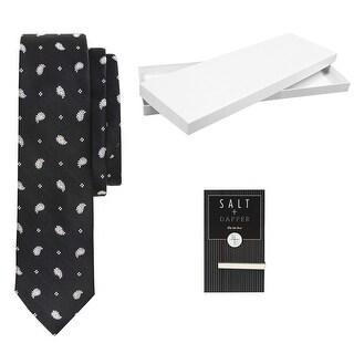 Salt & Dapper Men's Woven Silk Luxury Tie With Tie Bar & Giftbox - Black Paisley - One size