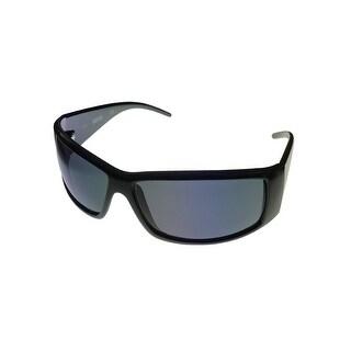 Kenneth Cole Reaction Mens Sunglass Black Rectangle Wrap, Gray Lens KC1206 1A - Medium