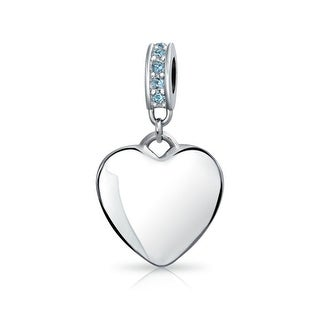 Bling Jewelry Imitation Blue Topaz Crystal Heart Shaped Dangle Bead Charm .925 Sterling Silver