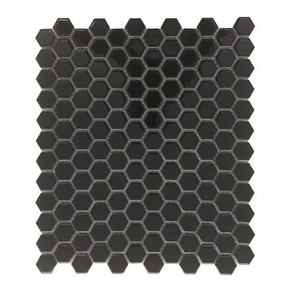 Black Glossy Porcelain Mosaic Hexagon Floor Wall Tile 1 Sheet 10.25 x 11.8
