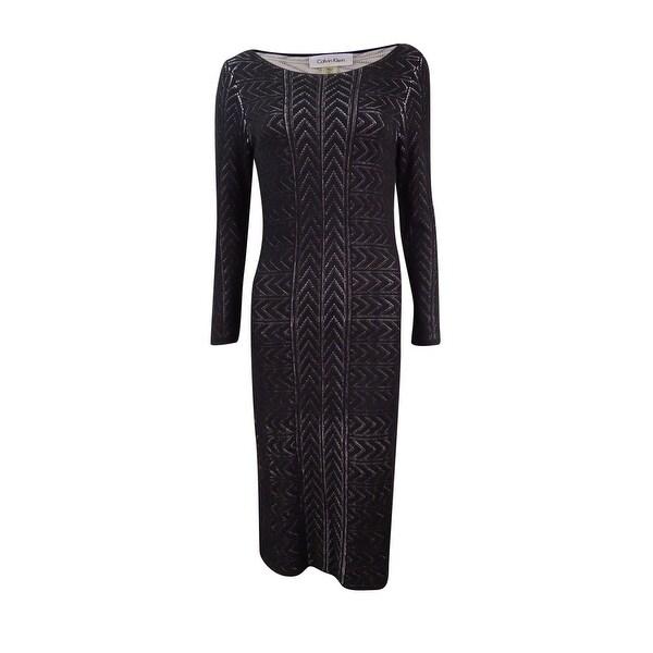 Shop Calvin Klein Womens Chevron Knit Sweater Dress Black On