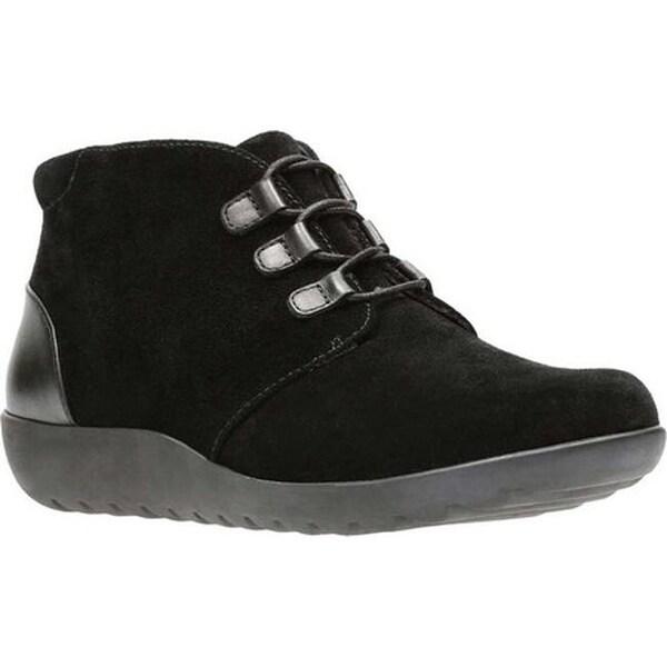 b572699b126 Clarks Women  x27 s Medora Sage Chukka Boot Black Suede Full Grain Leather