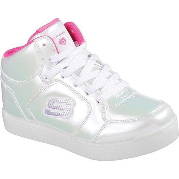 Skechers Girls' Energy Lights E Pro Pearl Princess High Top WhiteHot Pink
