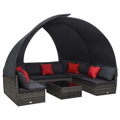 vidaXL 9 Piece Garden Lounge Set with Canopy Poly Rattan Anthracite