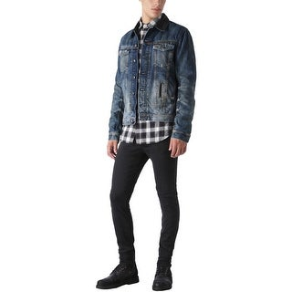 Diesel Elshar 00S0Y8 Dark Blue Denim Jacket with Cow Leather Trim