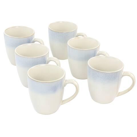 Martha Stewart Blue Rim 6 Piece 13 Ounce Stoneware Cup Set in Blue - White/Blue