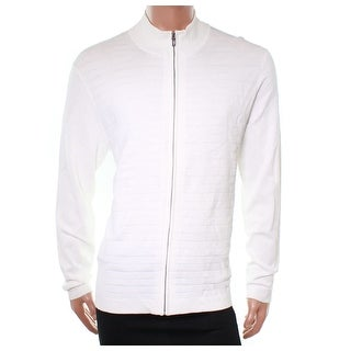 Alfani NEW Solid Washed White Mens Size XL Ribbed Full Zip Sweater