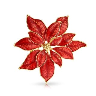 Bling Jewelry Gold Plated Red Enamel Poinsettia Flower Brooch Holiday Pin