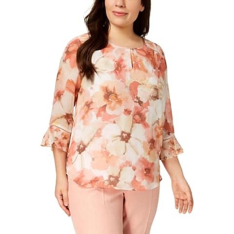 Alfred Dunner Womens Plus Blouse Printed Keyhole