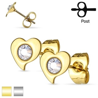Pair of Crystal Heart Stainless Steel Stud Earrings