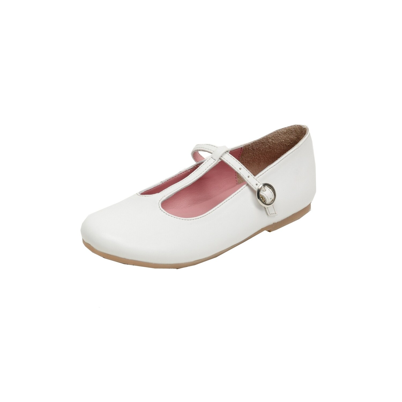 Shop Pazitos Girls White T-Strap Buckle