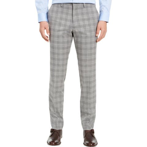 Kenneth Cole Reaction Mens Dress Pants Slim Fit Plaid - Light Grey - 31/32