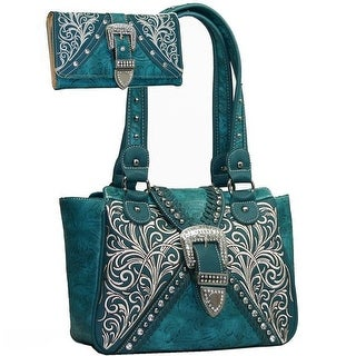 Western Concealed Embroided Purse with Matching Wallet - Turquoise
