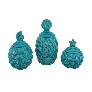 Blue Seashell Design Ceramic Canisters Set of 3
