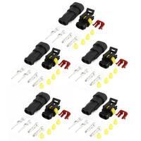 Unique Bargains Unique Bargains 5 Kits 2-Pole 2 Positions Sealed Waterproof Cable Connectors for Car Auto Stereo