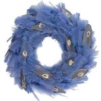 "14"" Regal Peacock Embellished Blue Feather Artificial Christmas Wreath - Unlit - GOLD"