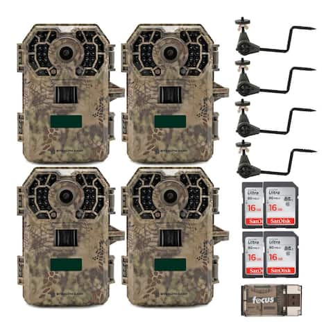 Stealth Cam 2020 G42NG 24MP Trail Camera 4-Pack Kit w/ Mounts & Cards