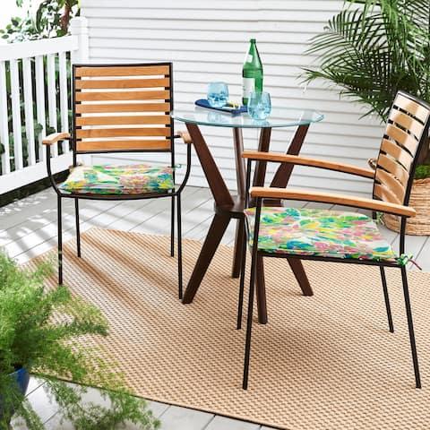 Havenside Home Pink/Blue Pineapples Indoor/Outdoor Chair Pad, Set of 2