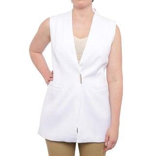 Alfani Sleeveless V-Neck Structured Vest Jacket Vest Bright White
