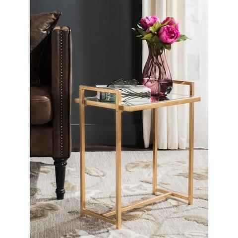 "SAFAVIEH Renly Antique Gold Leaf End Table - 18.3"" W x 12.3"" L x 22.1"" H"