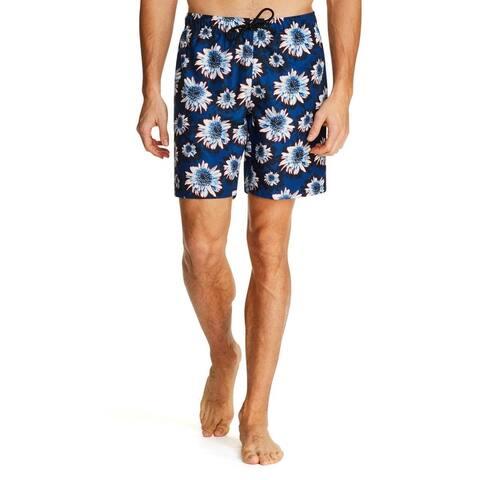 Tallia Sport Mens Floral Modern Fit Board Shorts - Navy/Blue