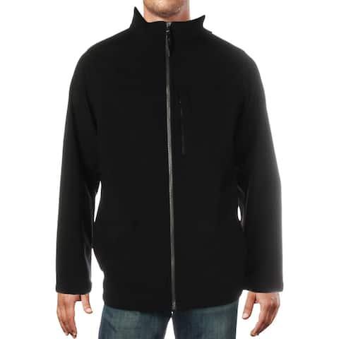 Calvin Klein Mens Big & Tall Soft Shell Jacket Water Resistant Fall - Black - XLT
