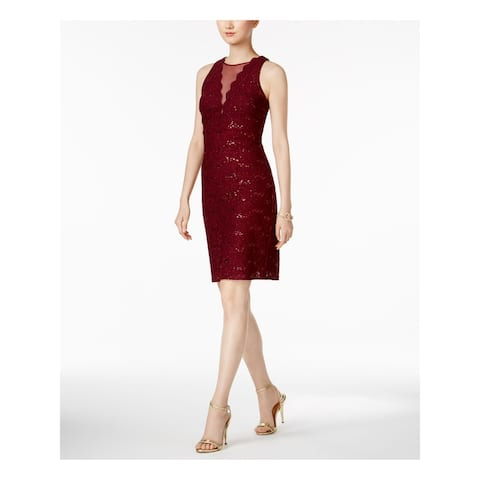NIGHTWAY Womens Burgundy Sleeveless Mini Body Con Dress Size 14