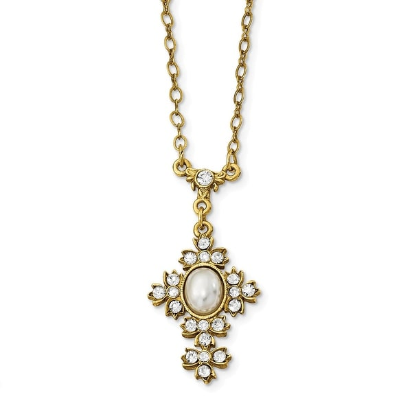14k Gold IP Acrylic Pearl w/Crystal Cross Necklace - 16in