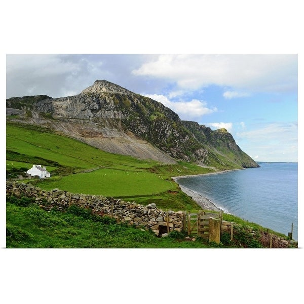 """""""Seascape of coast path at Trefor, wales"""" Poster Print"""