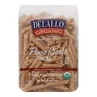 Delallo Organic Whole Wheat Penne Rigate Pasta - Case of 16 - 1 lb.