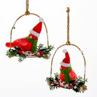 Kurt Adler Festive Red Cardinals With Trim  Holiday Ornaments Set of 2 Glass