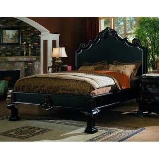 Liege Eastern King Size Panel Bed in Black Finish without Cabriole