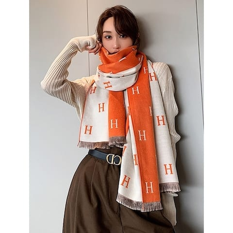 H Print Contrast Color Imitation Cashmere Shawl Scarf - FREE SIZE